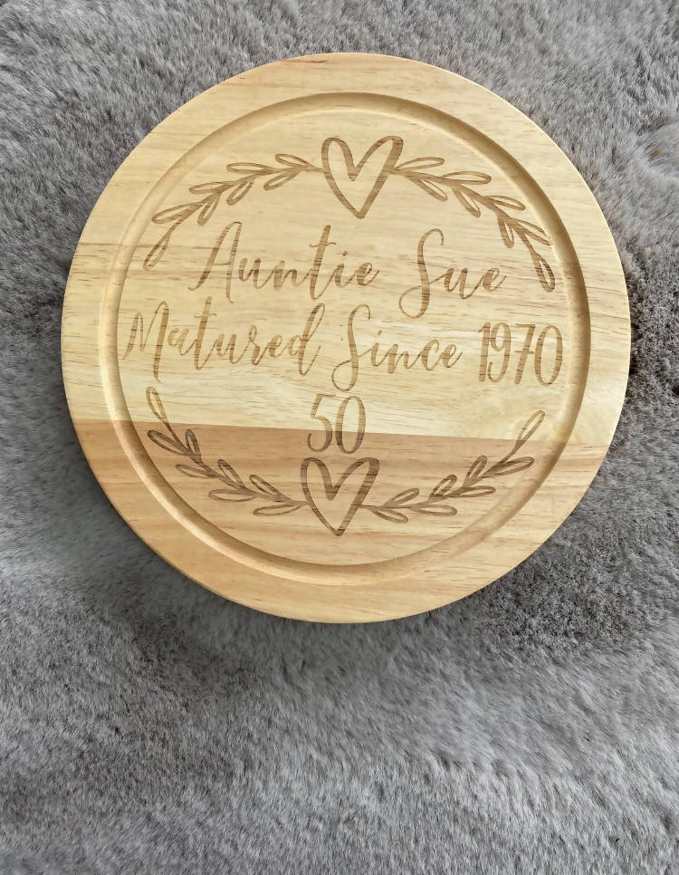 Personalised Cheese Board with Knife Set