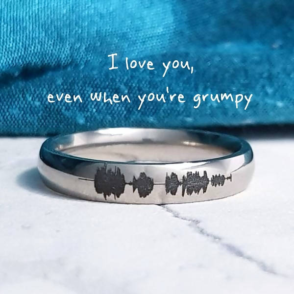 Personalised Titanium Soundwave Ring