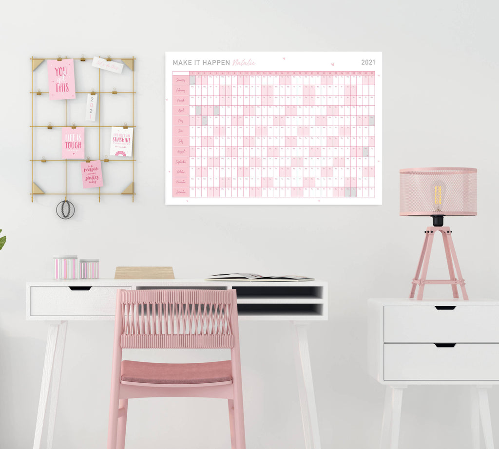 Personalised 2021 Motivational Pink Wall Planner