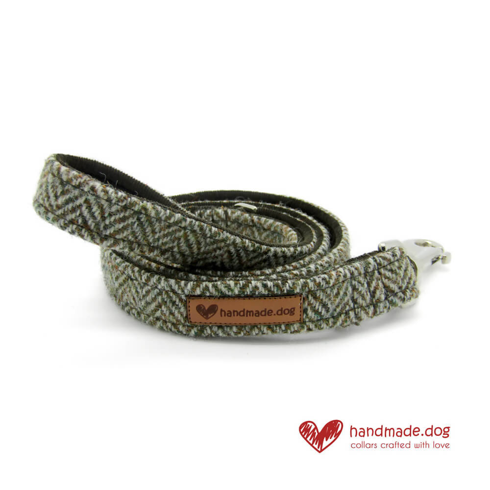 Brown Herringbone 'Harris Tweed' Dog Lead