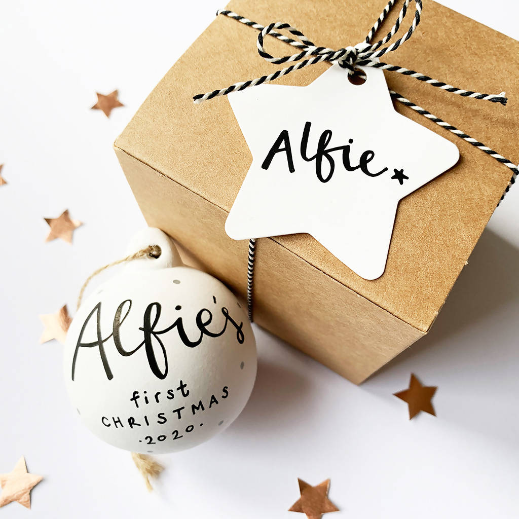 Baby's First Christmas 2020 Personalised Ceramic Bauble