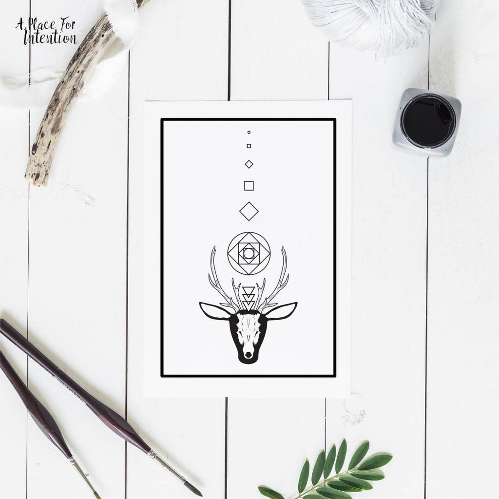 Sacred Stag Geometric Illustration Card