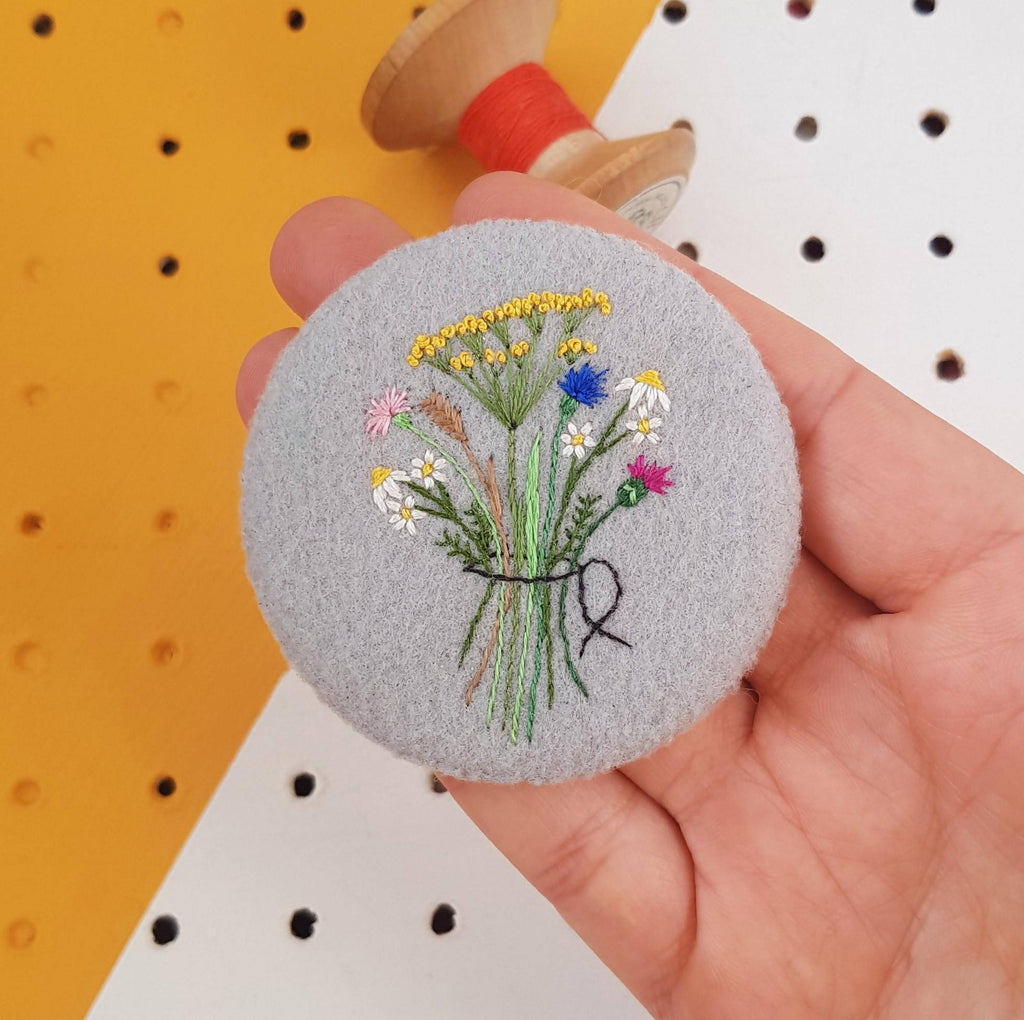Grey Floral Brooch