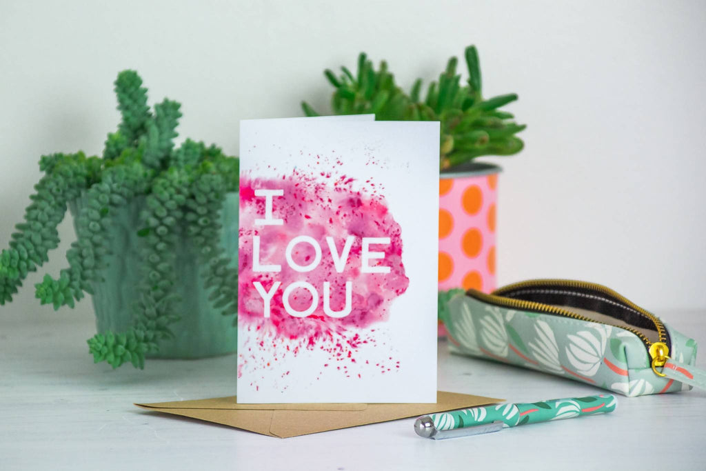 'I love you' Inky Pink Card - 1, 5 or 10 pack