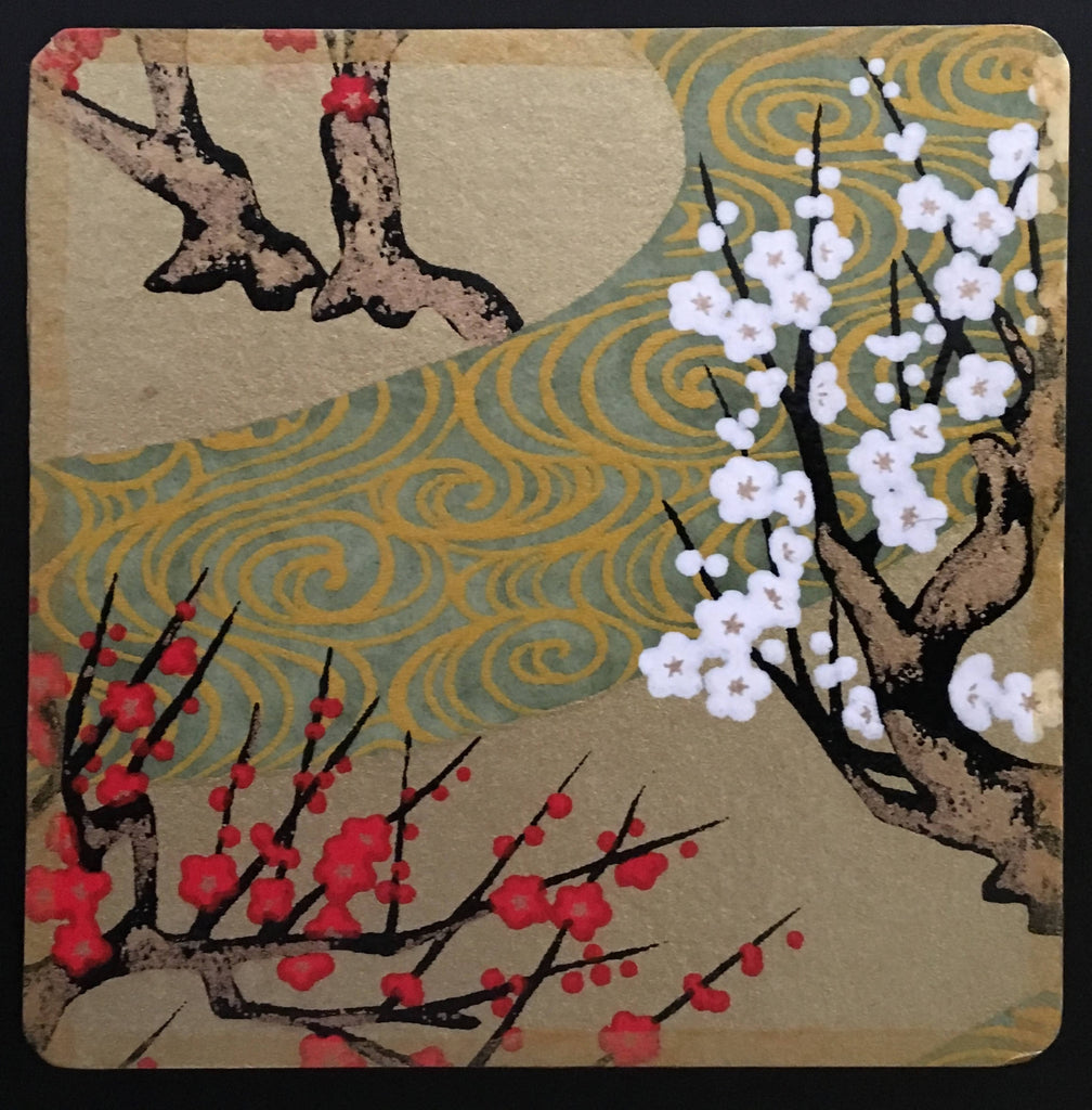 Gold drinks coasters handmade with Japanese washi paper
