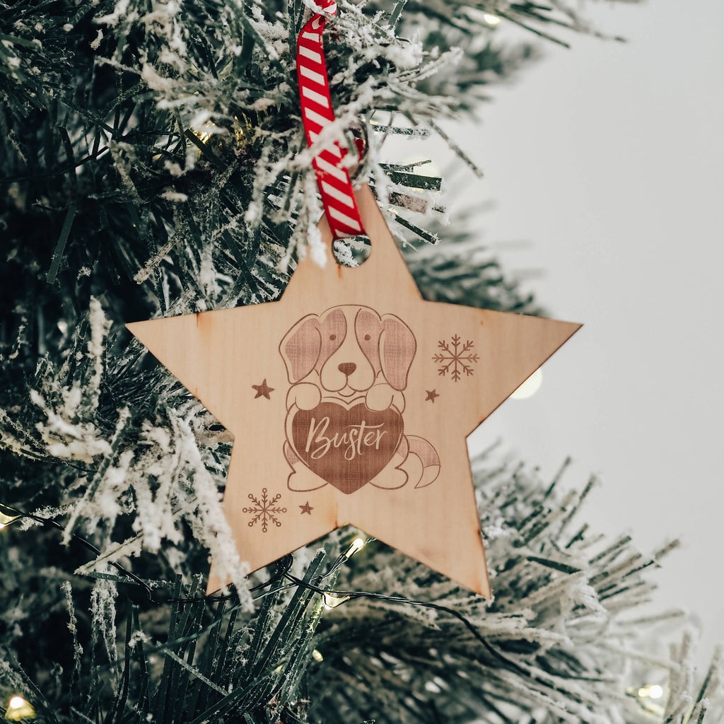Star Shaped Personalised Christmas Tree Decoration for your Dog