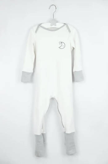 GREY MISCHIEFSUIT - ZIPPED ORGANIC COTTON BABYGROW WITH FOLDABLE FEET