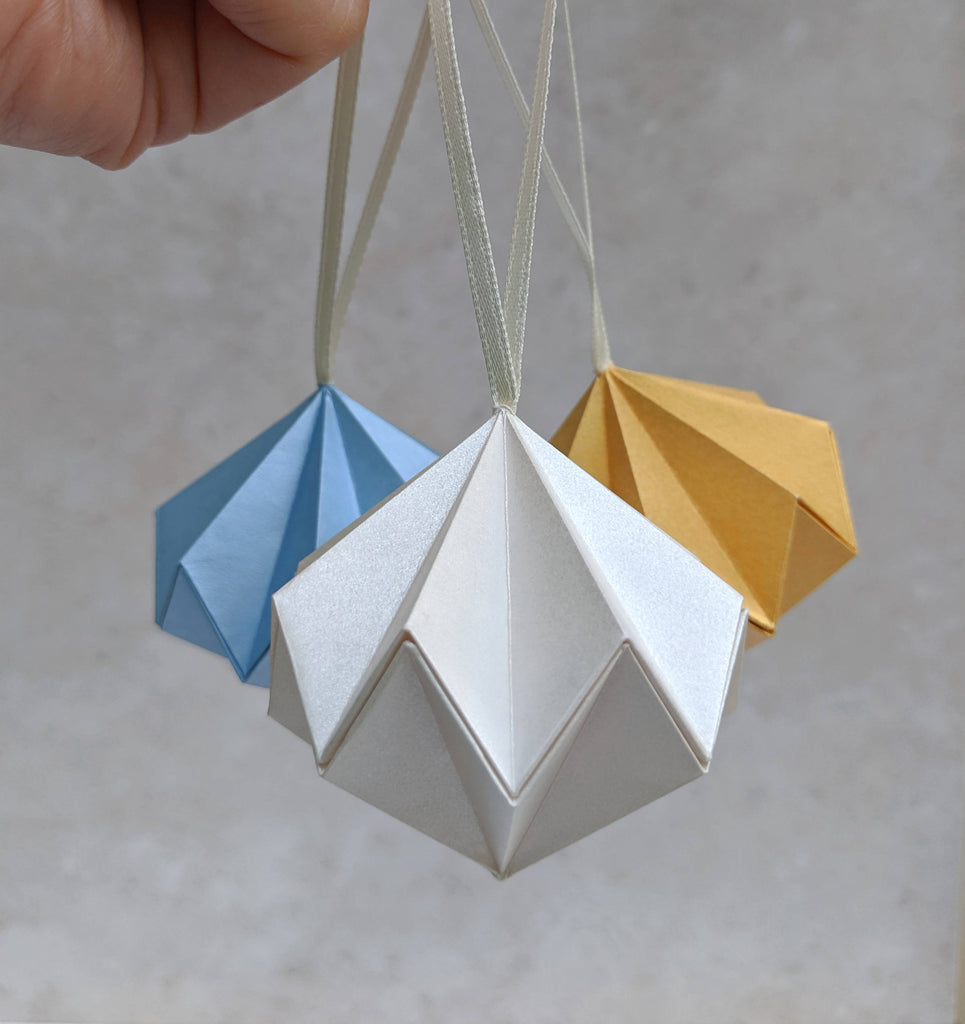 ivory blue and gold origami diamond baubles