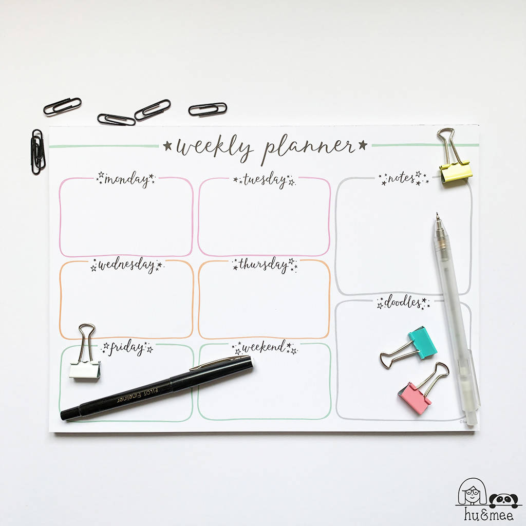 Weekly Planner Pad A4 - Star Design