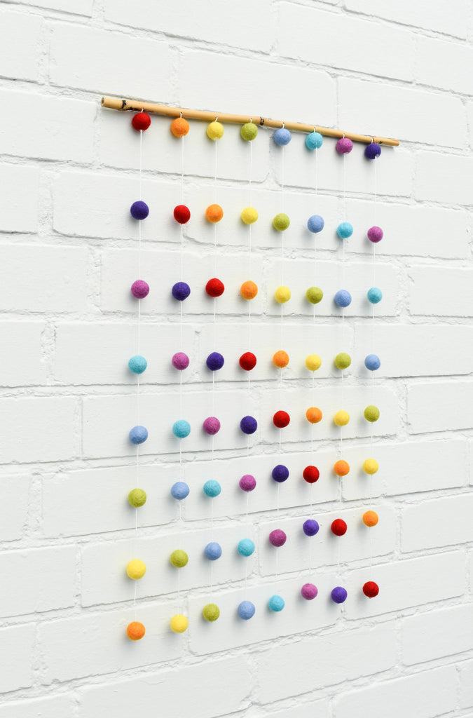 Rainbow Felt Ball Wall Hanging