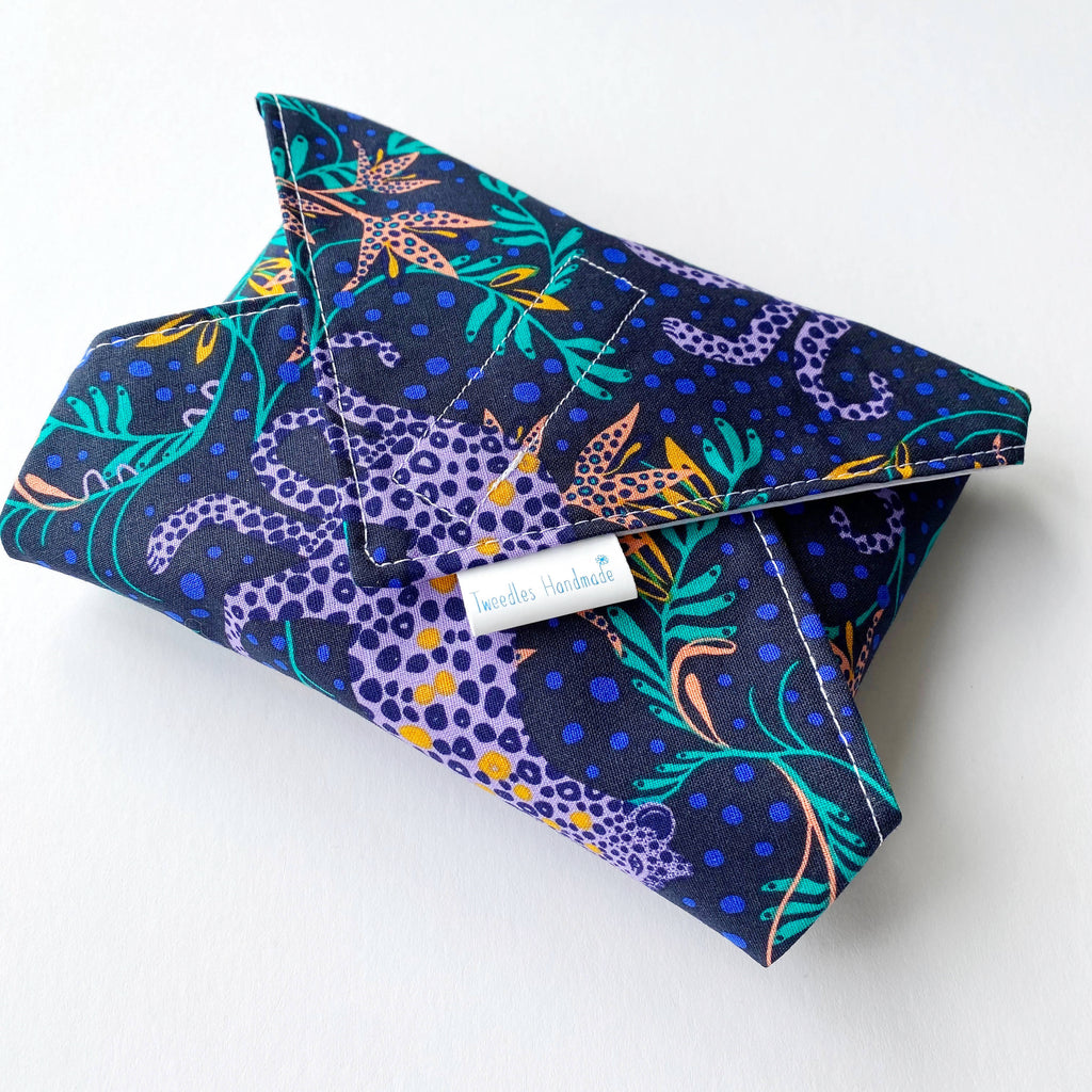 Eco Friendly Reusable Sandwich wrap in with purple leopard print