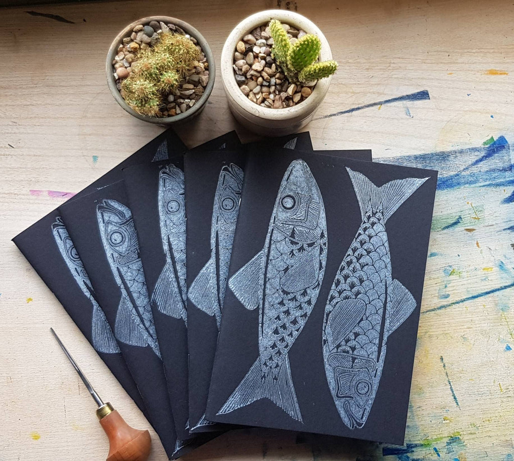 Catch Of The Day Sketchbook | Original Lino Print Artwork | Cornwall Based Artist | Nature Inspired | Fish | Ocean |