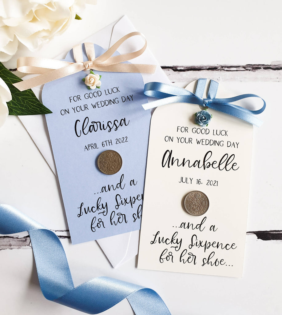 Rose Detail Lucky Sixpence Gift Tag for Bride - Personalised