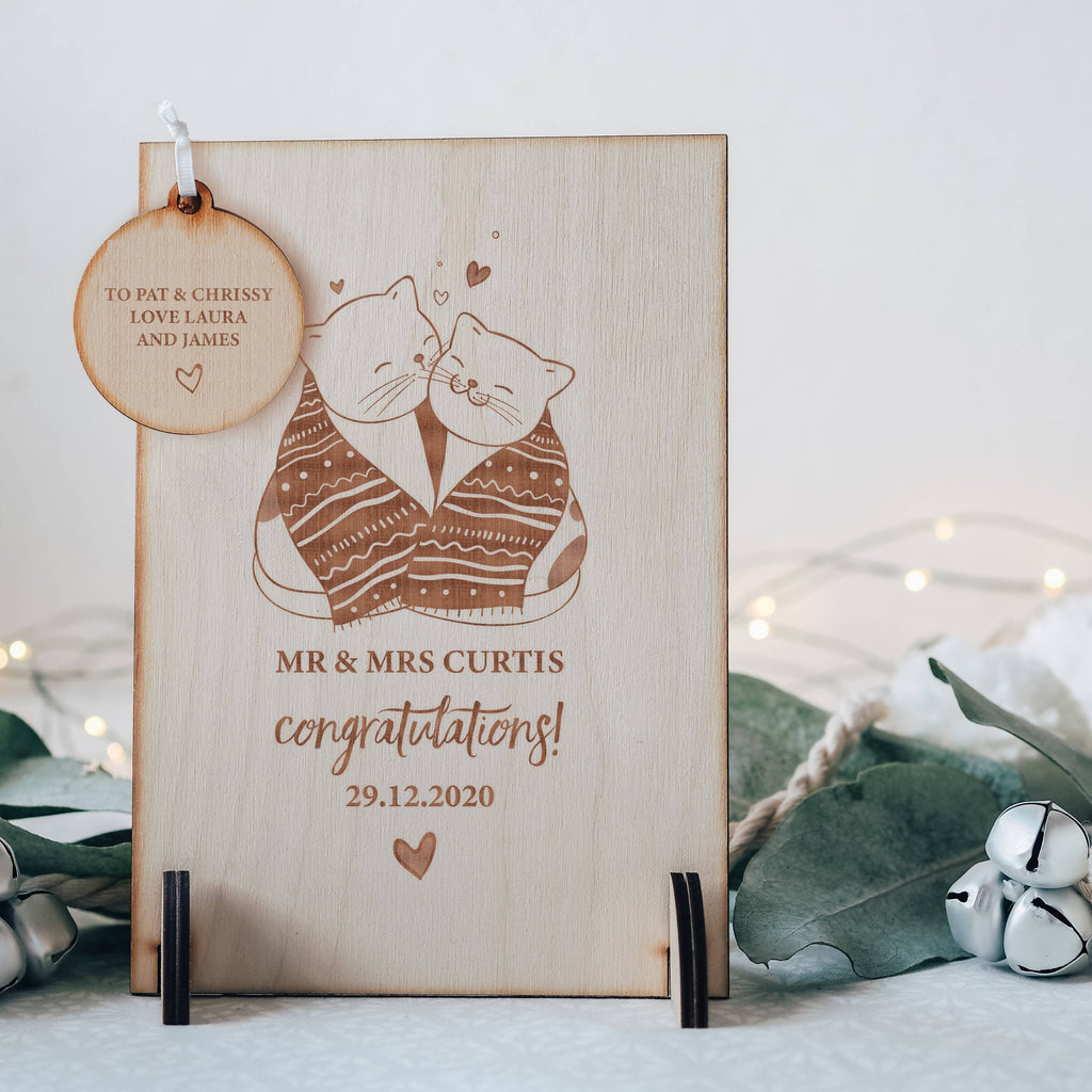 Winter Wedding / Engagement Wooden Keepsake Greeting Card with Cuddling Cats