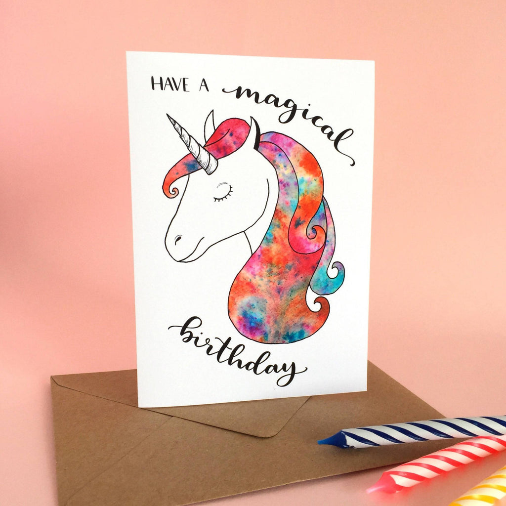 'Have a magical birthday' Unicorn Card - 1, 5 or 10 pack