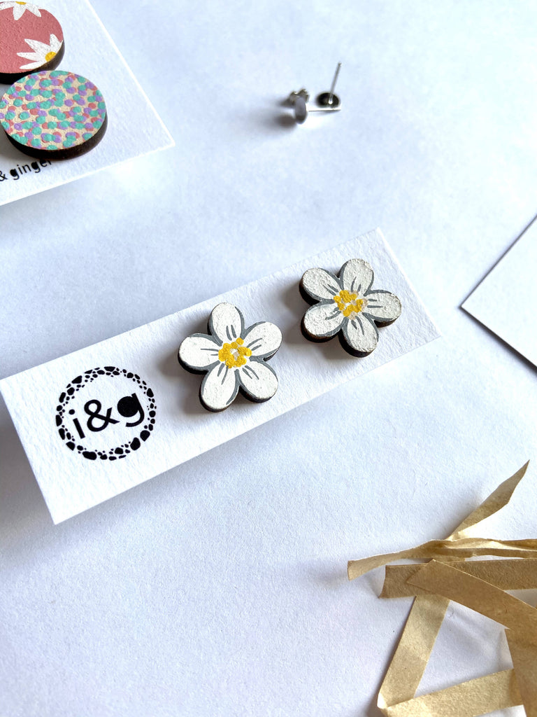 Floral Collection Wooden Earrings Gift Set