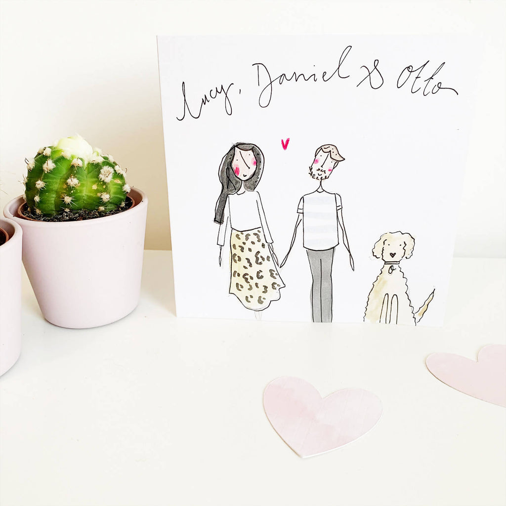 Hand Painted Personalised Valentine Card
