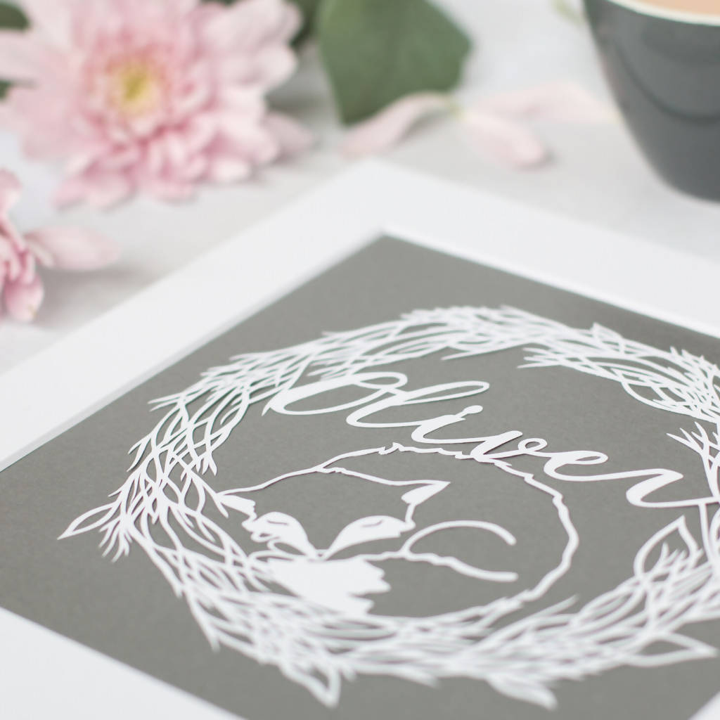 Personalised Fox Paper Cut