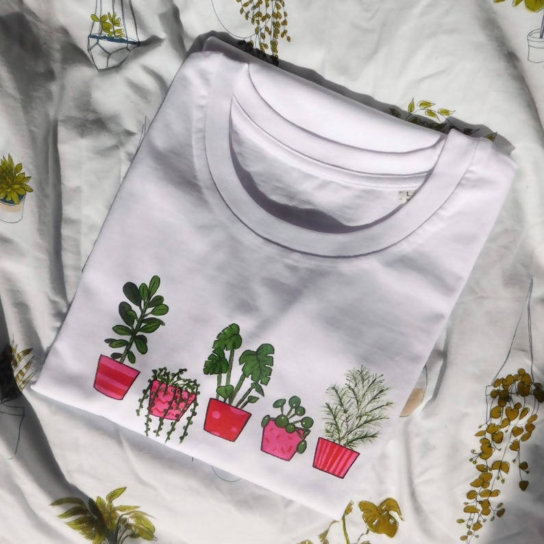 Houseplant Unisex Organic Cotton Hand Painted Monstera Palm T-shirt