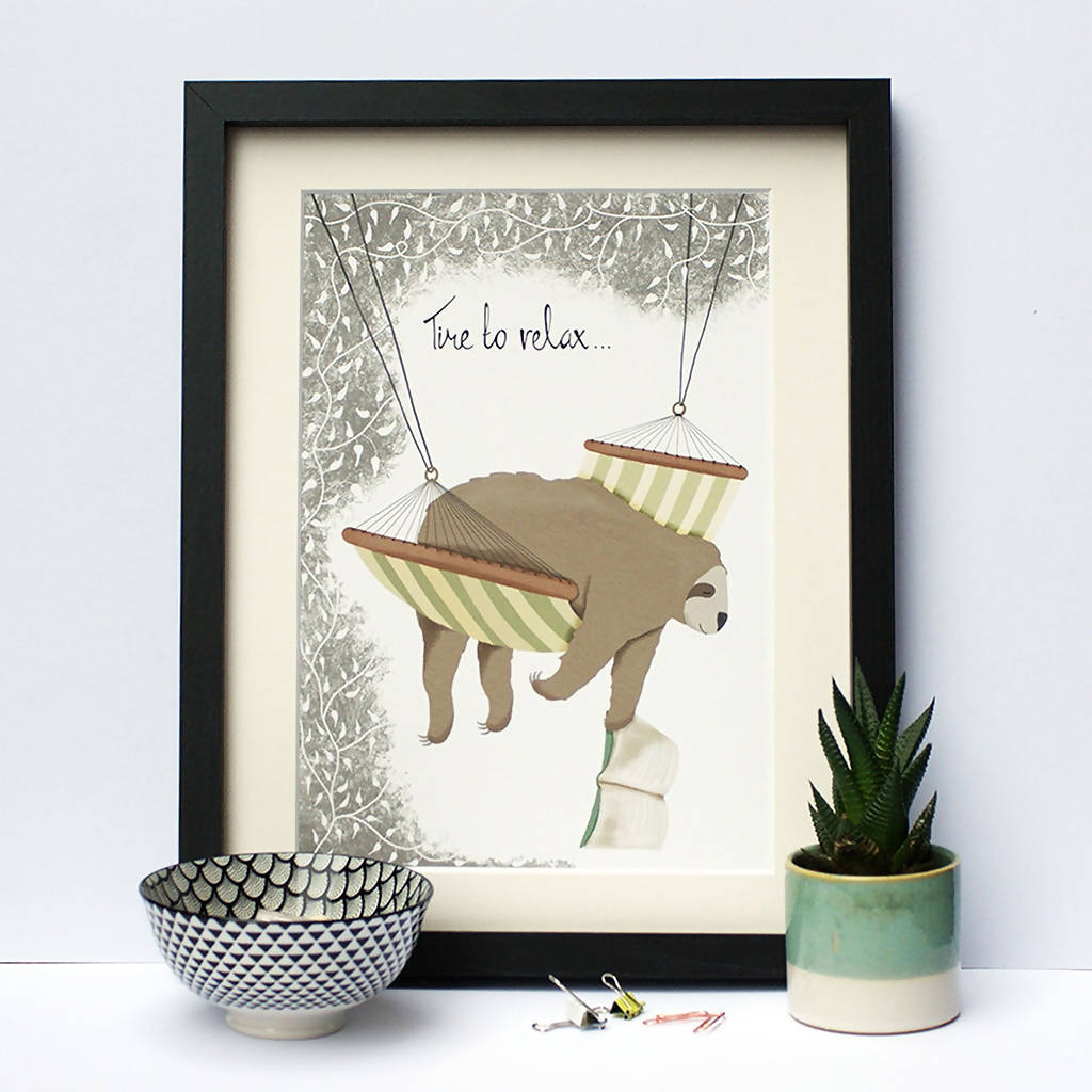 Illustrated Print Sloth Time To Relax