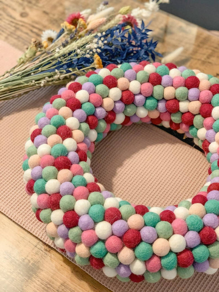 Felt Ball Pom Pom Door Wreath