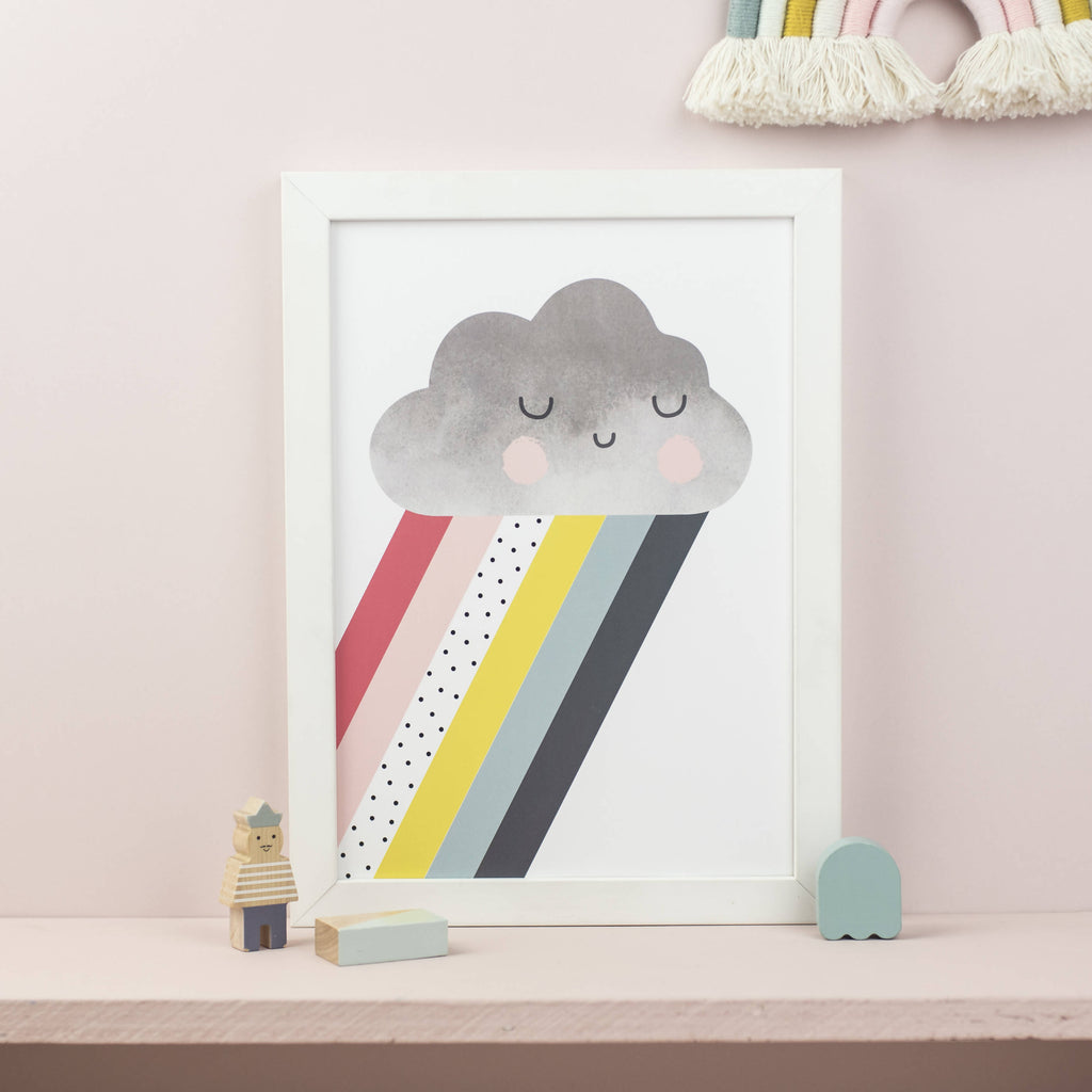 Rainbow cloud print