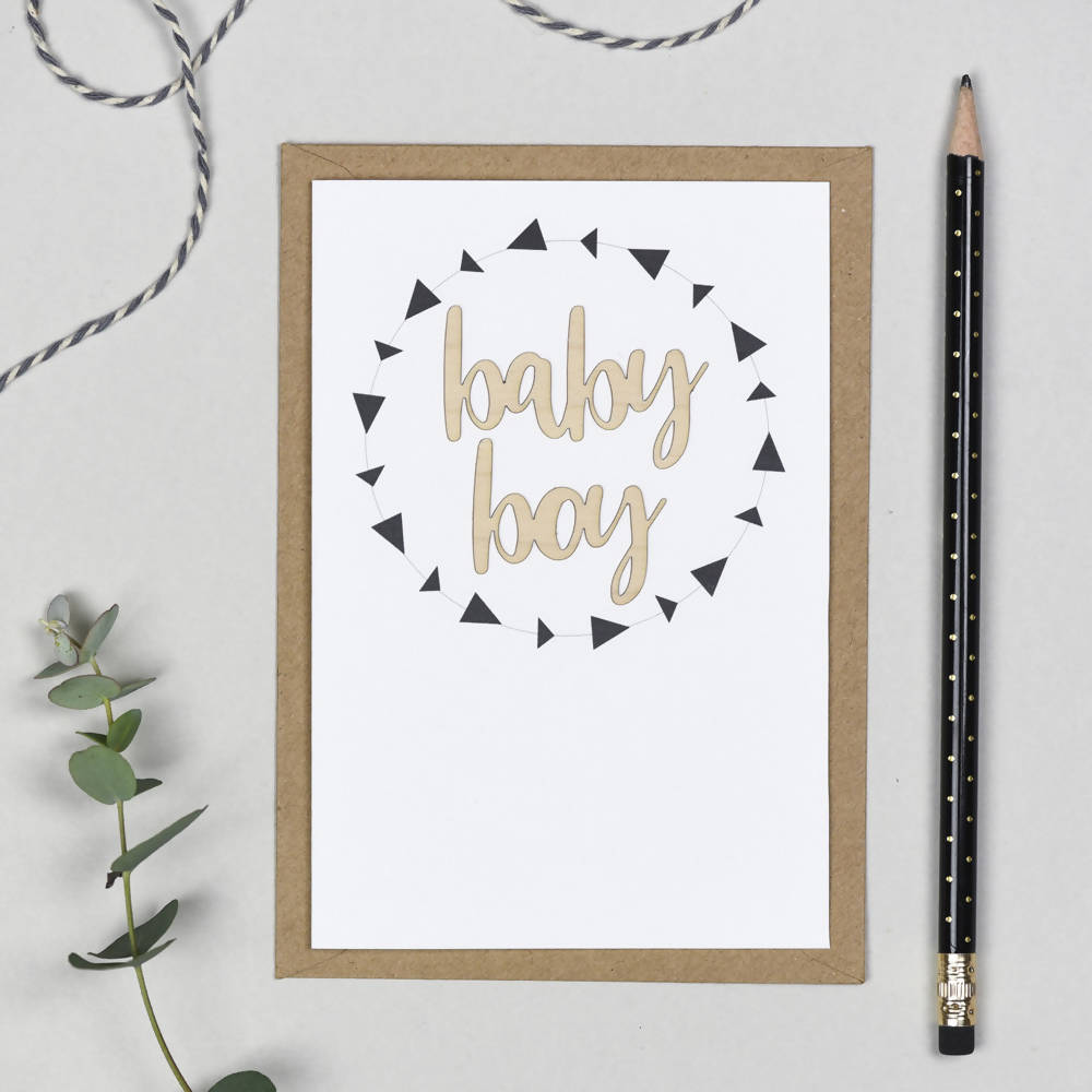 Baby Boy Wooden Words Card
