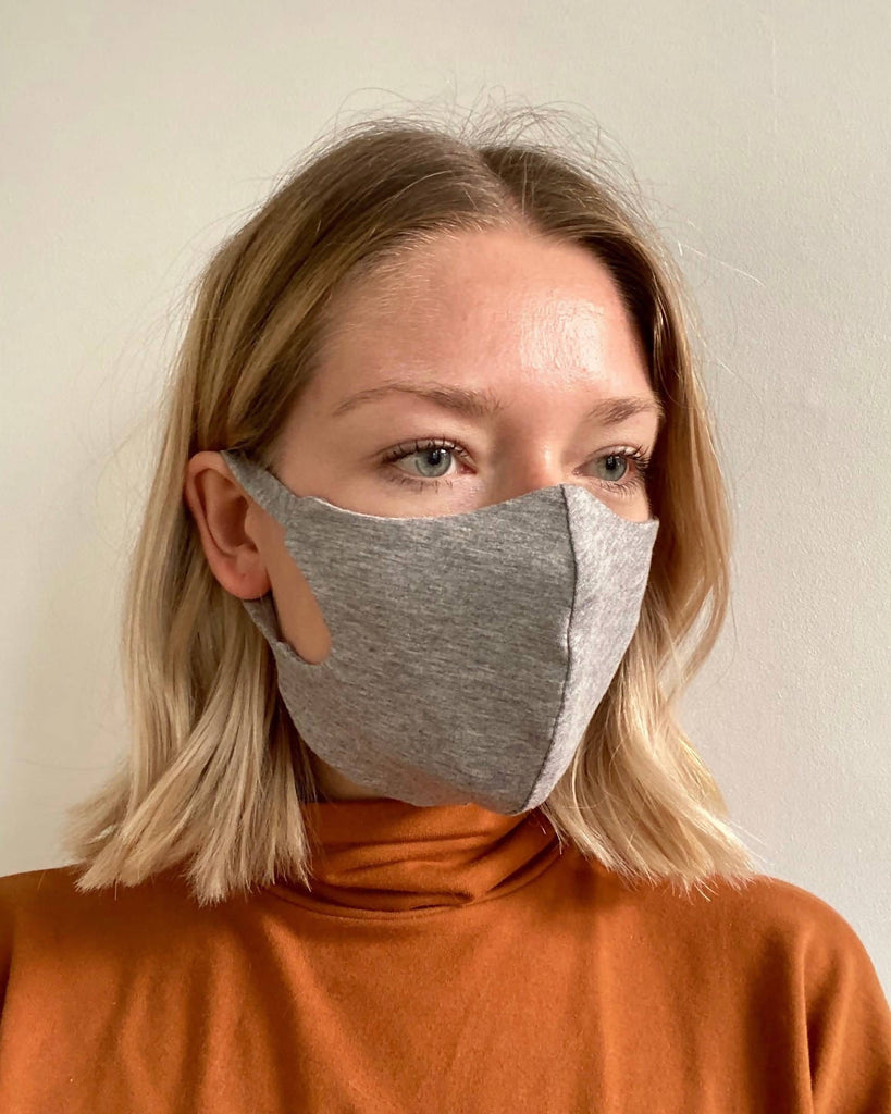 Triple layer bamboo and organic cotton fitted face mask
