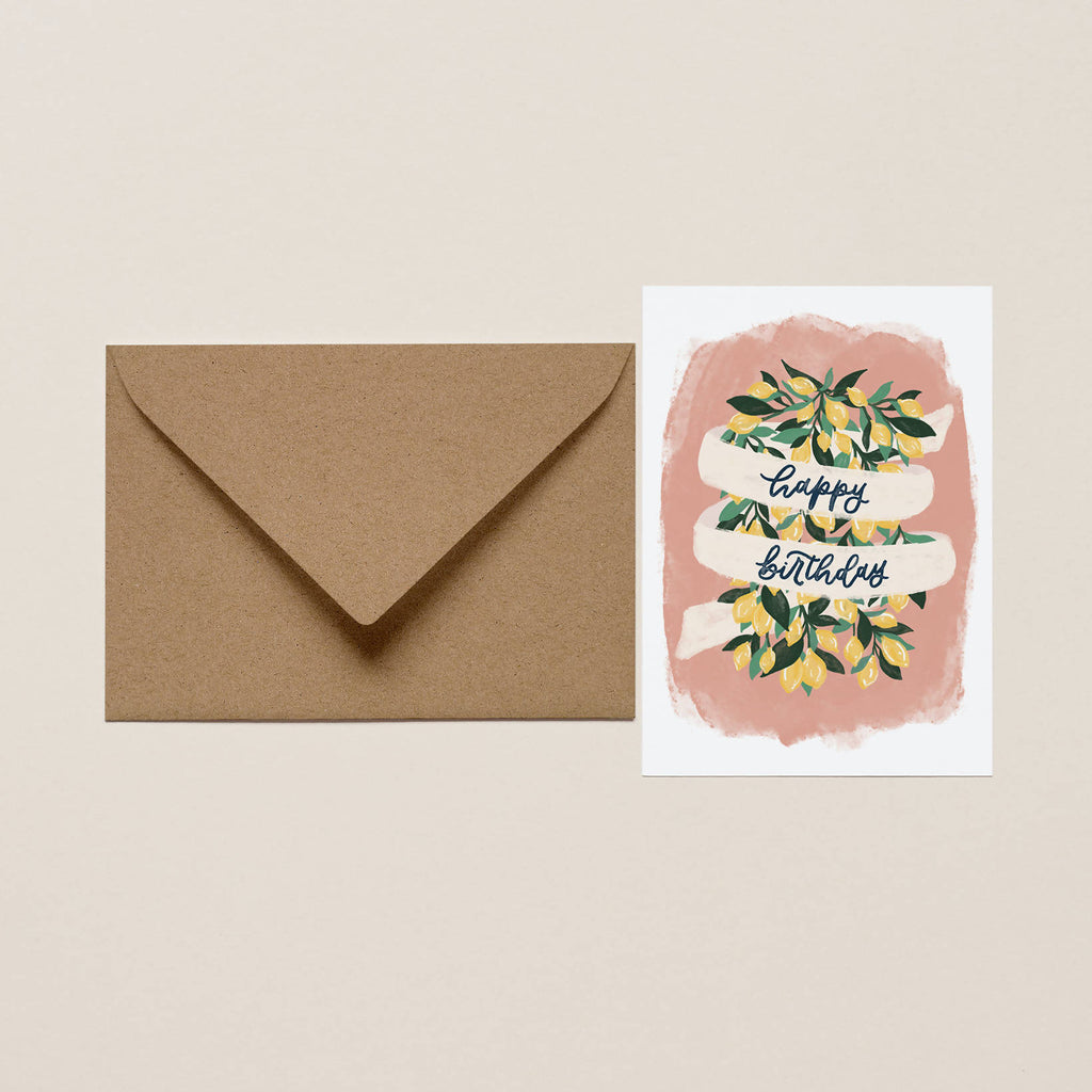 Lemon Happy Birthday card, Floral birthday card, Botanical birthday card, Birthday card pack