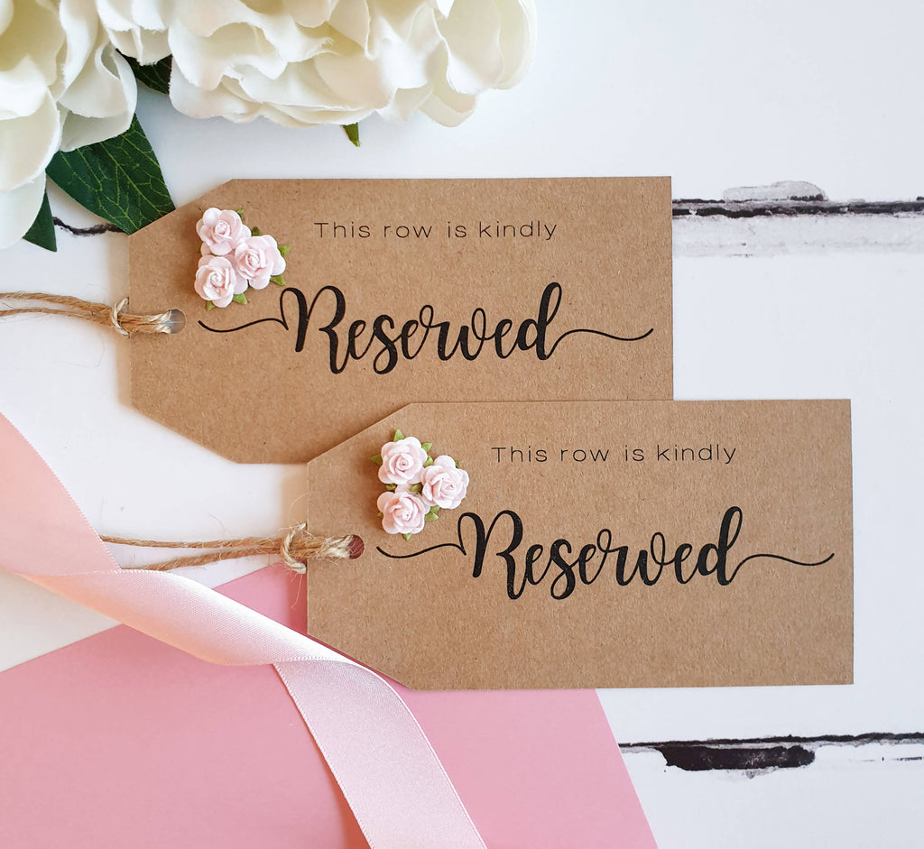 Kraft Wedding Reserved Seat or Row Tags with Blush Rose.