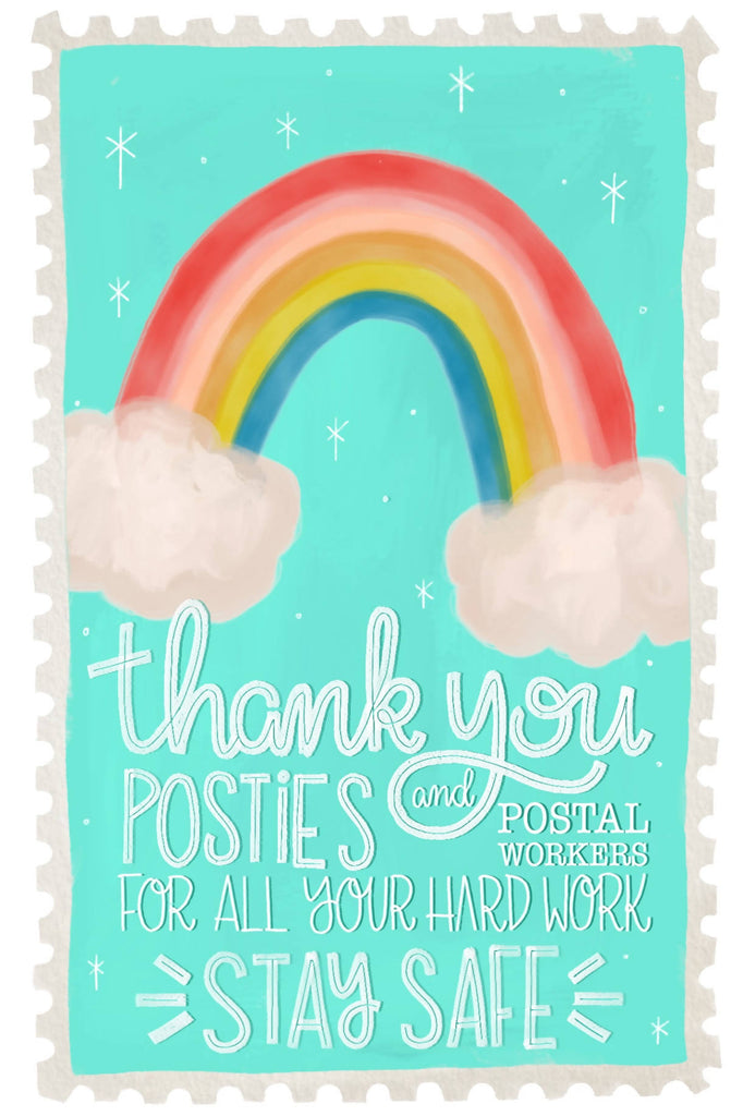 Sheet of Thank You Postie Postage Stickers