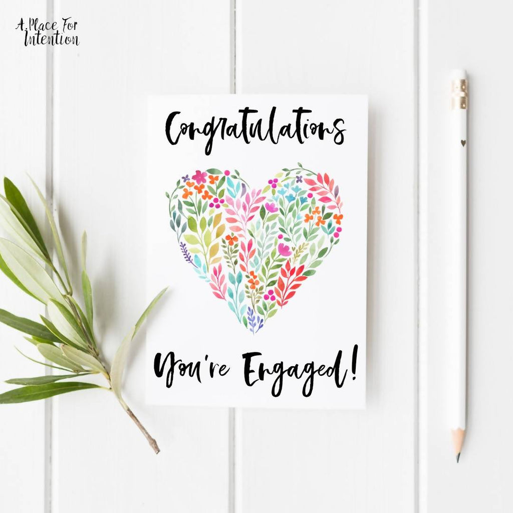 Congratulations Floral Heart Engagement Card