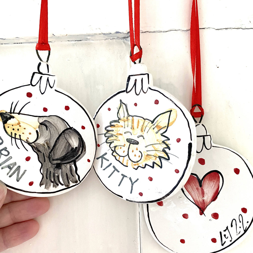 Pet portrait bauble Christmas bespoke personalised gift