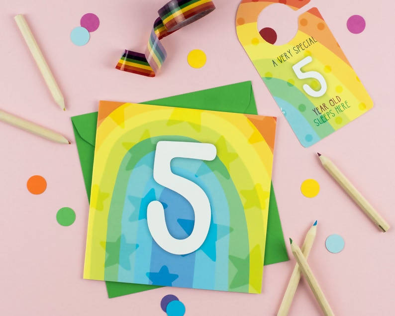 Five year old rainbow brights baby birthday card with Cut-Out Crafty Activity