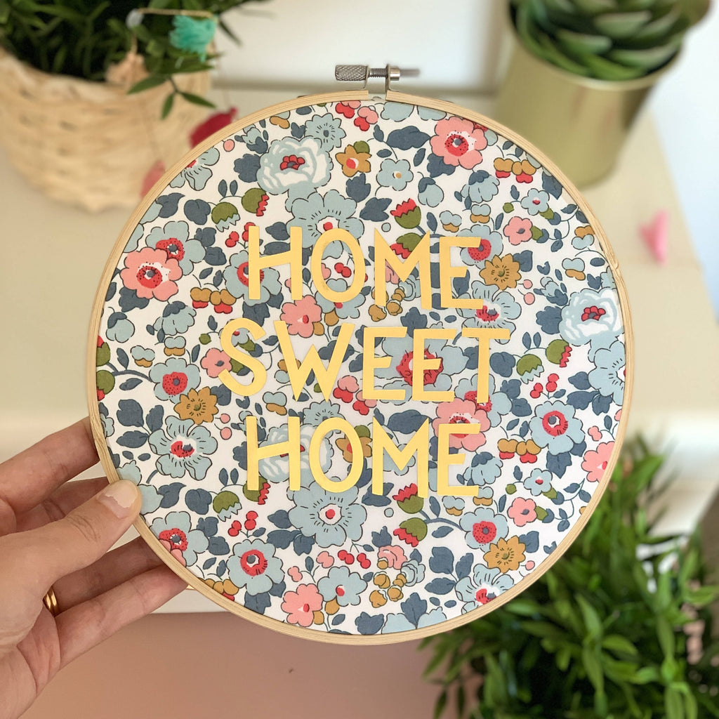 Home Sweet Home Liberty Print Gold Metallic Hoop