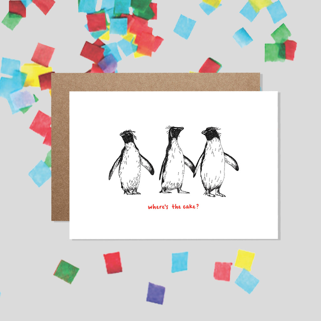 WHERE'S THE CAKE? Penguin Birthday Card / Penguin Gifts, Funny Birthday Card