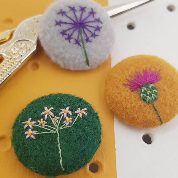 Thistle and Allium badge set