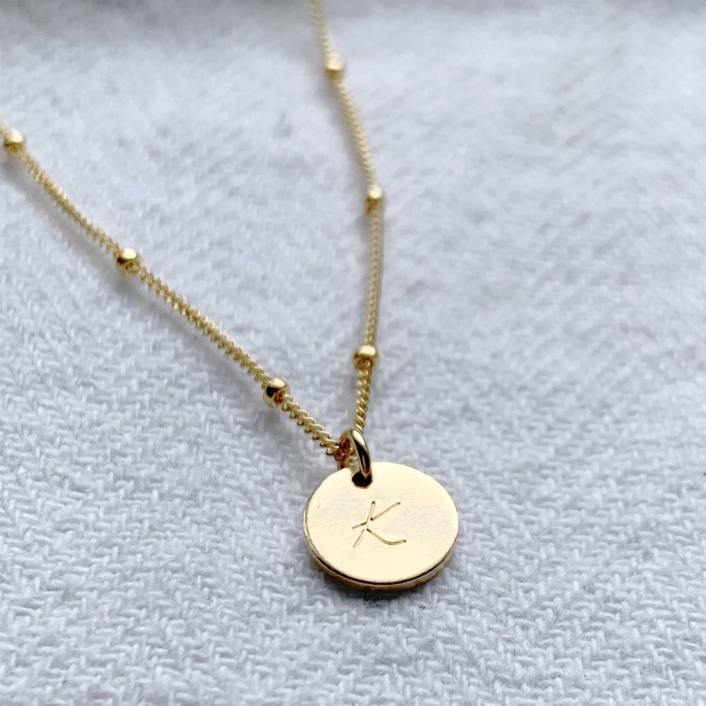 Gold Mini Disc Personalised Necklace