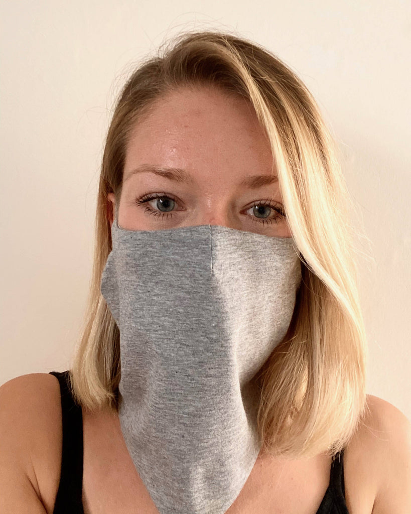 Adjustable bamboo and organic cotton neck buff with ear loops