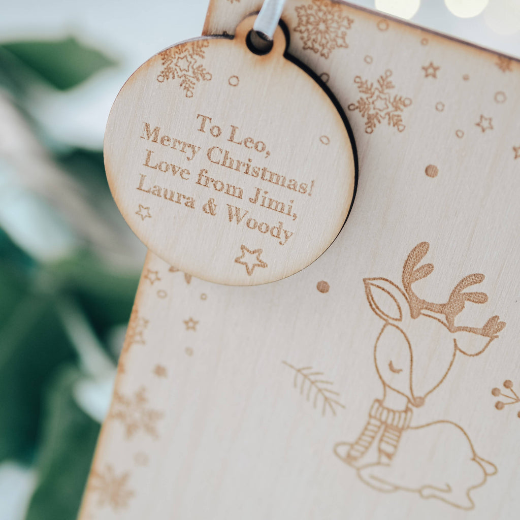 Baby's First Christmas Wooden Keepsake Greeting Card with Deer Design