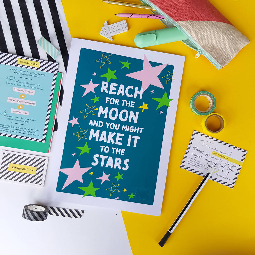'Reach for the moon and you might make it to the stars' Inspirational Empowering Print, Positive wall art, Positive Affirmation – Green background