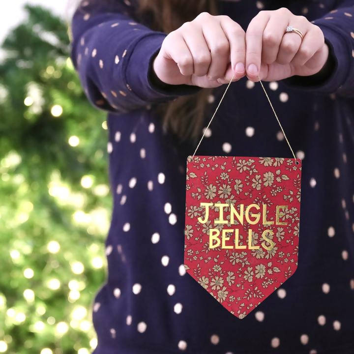 Jingle Bells Liberty Print Gold Metallic Banner