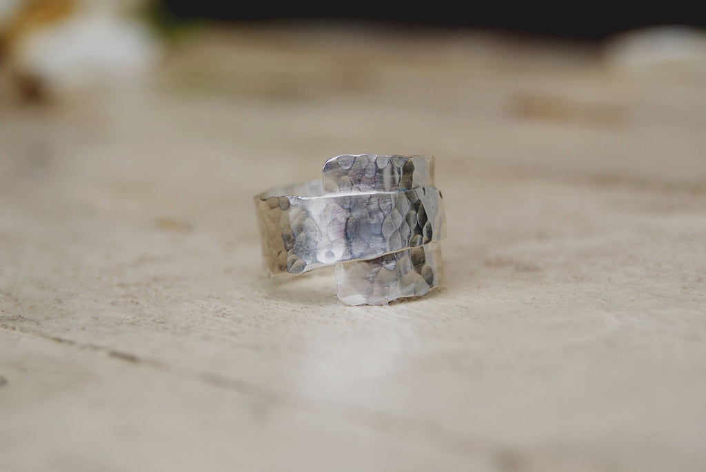Adjustable Wide Hammered Sterling Silver Wrap over Ring