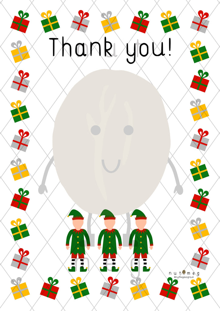Personalised 'Christmas' Thank You Notes (Blank)