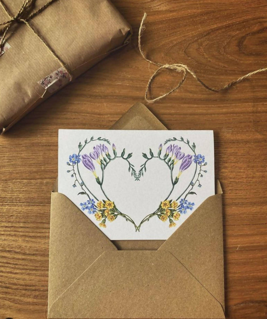 Floral Heart - Blank Greeting Card using hand painted flowers