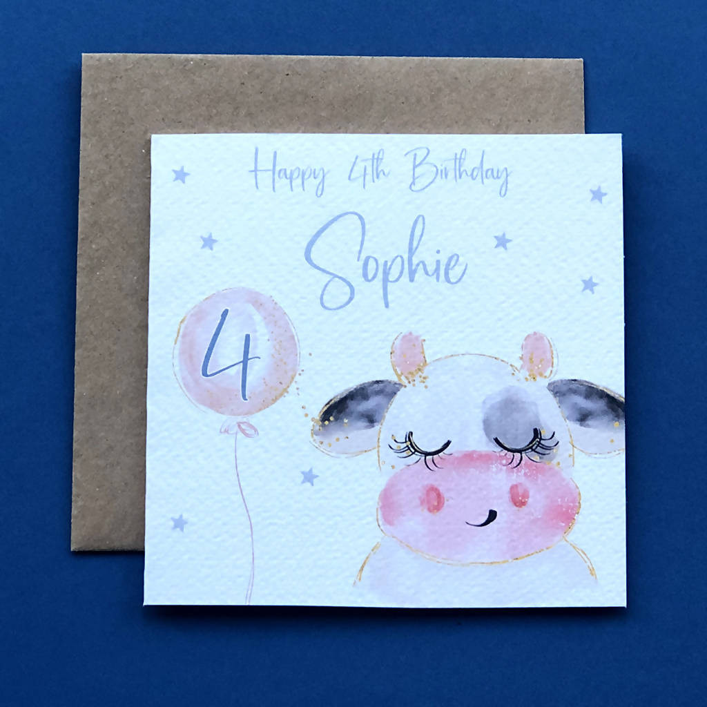 Personalised Children's Cow Birthday Card