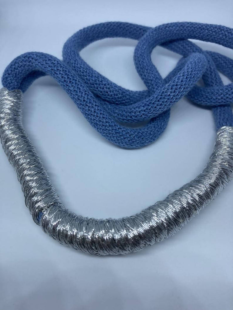 Denim Blue and Silver Statement Necklace