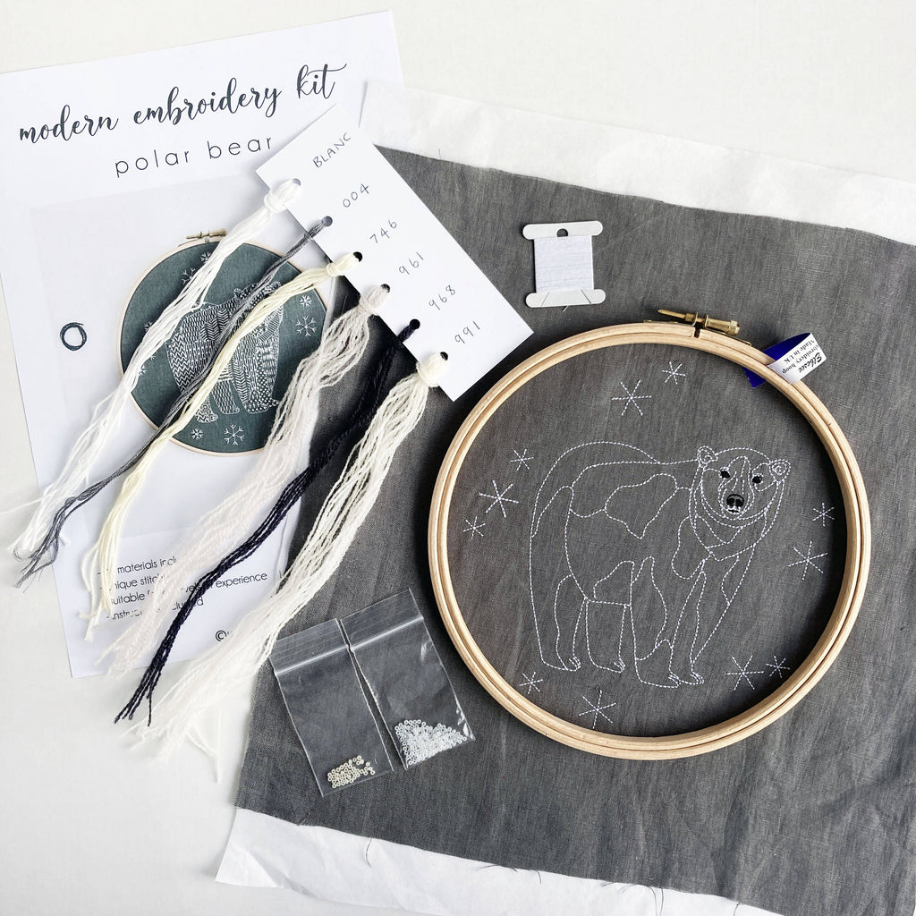 Polar Bear Christmas Embroidery Craft Kit