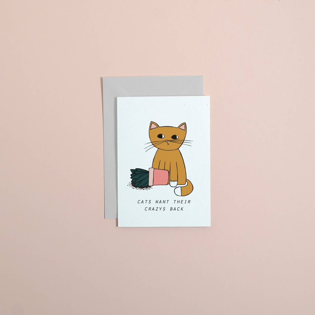 Cats vs plants greetings card // cat greetings card // cute card // funny card // plants greetings card // illustated card // birthday card