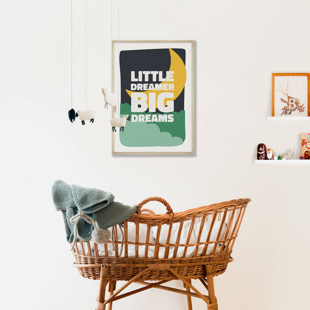 'Little dreamer big dreams' Inspirational Empowering Quote Print, Nursery print, Positive wall art – Yellow moon
